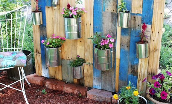 Garden pots from recycled tin cans