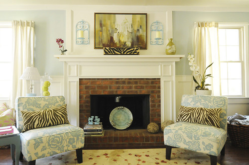 Living room fireplace summer decor idea
