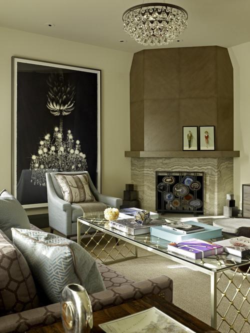 Living room corner fireplace summer decor idea