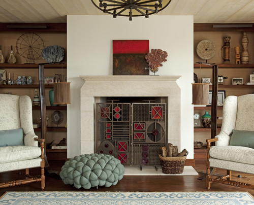Traditional fireplace summer decor idea