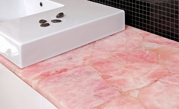 Pink quartz bathroom top