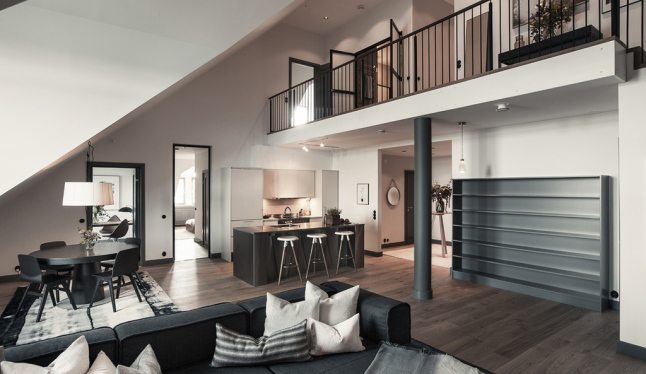 Gray decor triumphs in this Stockholm duplex