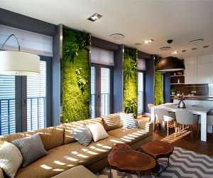 Green walls and grand designs in apartment decor