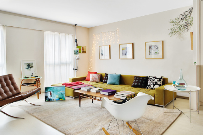Modern bright apartment pops with color