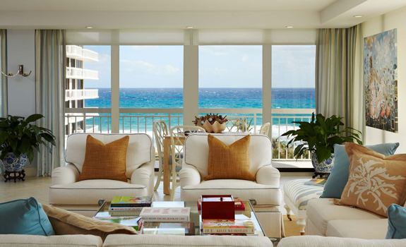 Modern ocean view living room interior