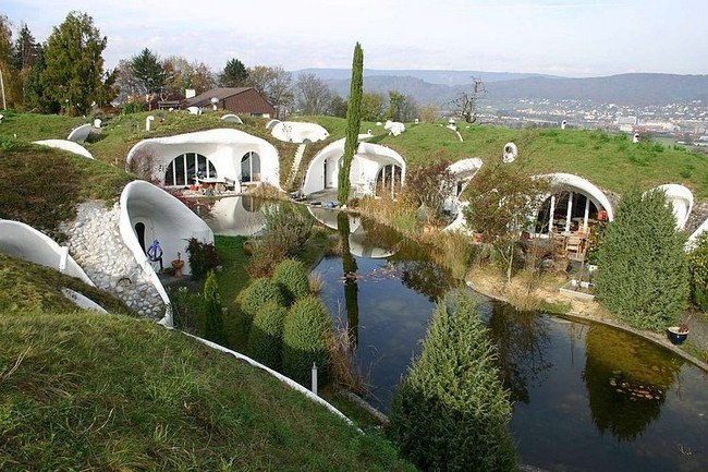 The Earth estate alternative houses embedded into the land