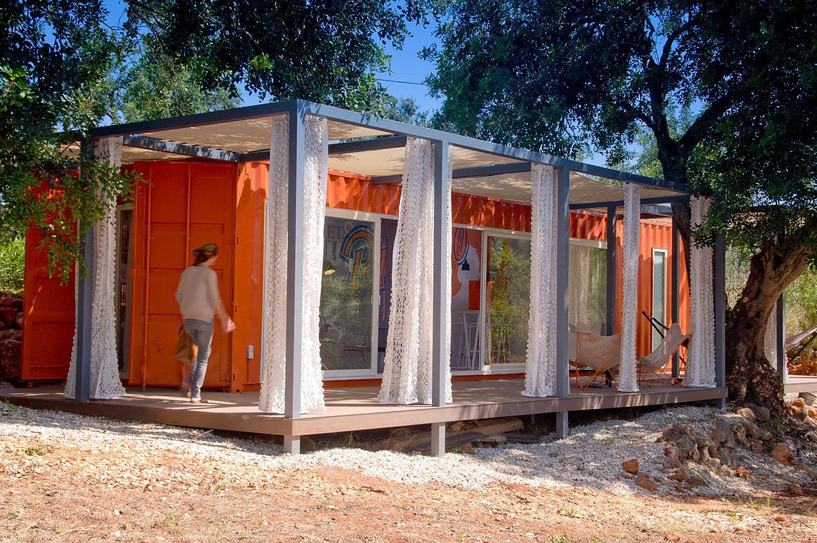 Open air living in a portuguese container home