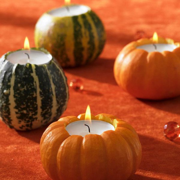 Pumpkins with tea candle lights