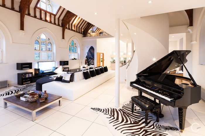 Stylish renditions in adaptive reuse converted church home in London