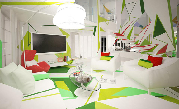 Colorful geometrical interiors