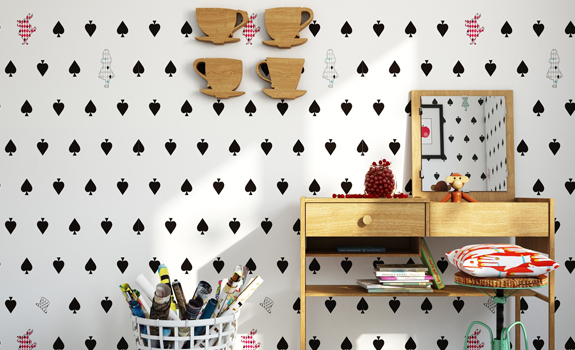 Black and white wallpaper for a kids room