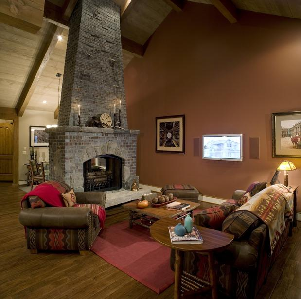 Cozy living room with a stone fireplace