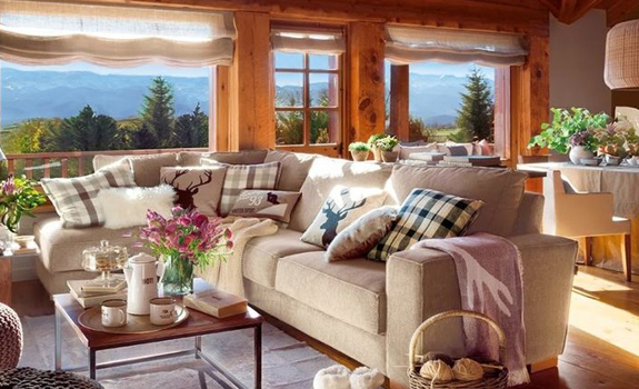 Cozy rustic living room design
