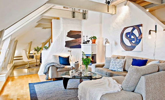 Swedish Attic Apartment Ideas