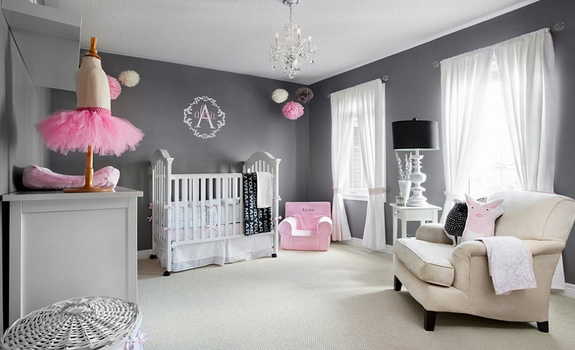Adorable grey and pink baby room design