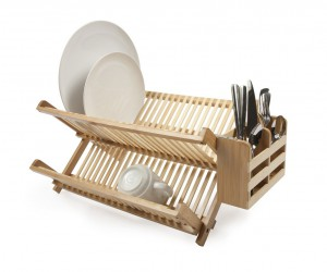 Compact bamboo dish rack