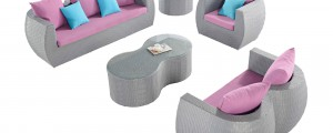 Gray & lilac outdoor furniture set