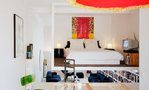 Bright small suspended bedroom