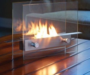 Modern styled tabletop fireplace