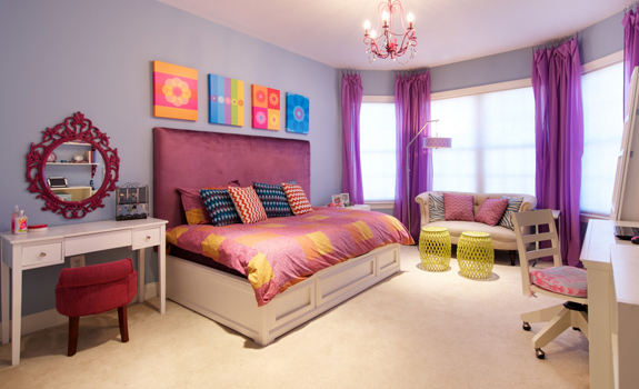 Colorful bedroom interior