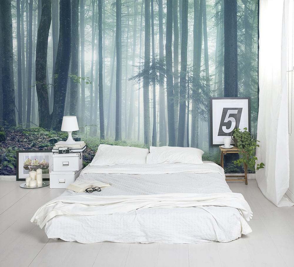 Forest wall murals for a serene home decor adorable home for Bedroom wall mural ideas