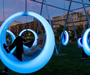 Glowing swings stimulate Boston park
