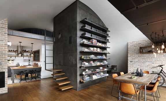 Stylish industrial loft interior