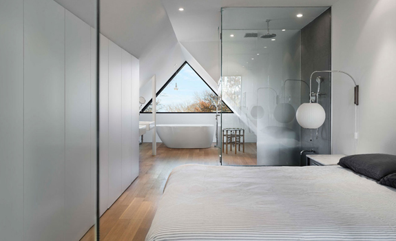 minimalist bedroom on the second floor