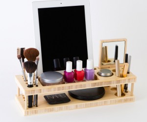 Eco-friendly bamboo beauty station