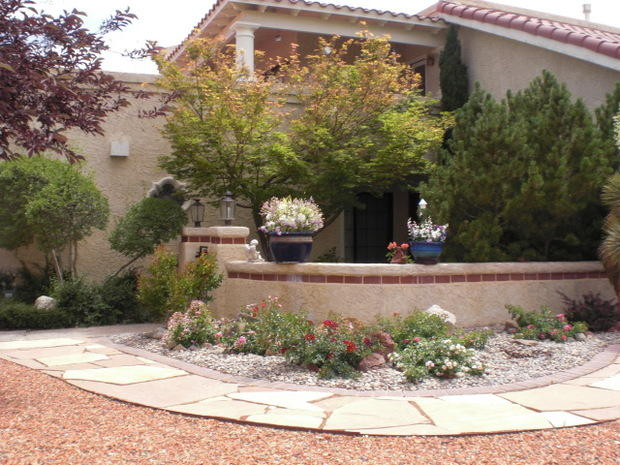 Contemporary Patio with stone paved walk way