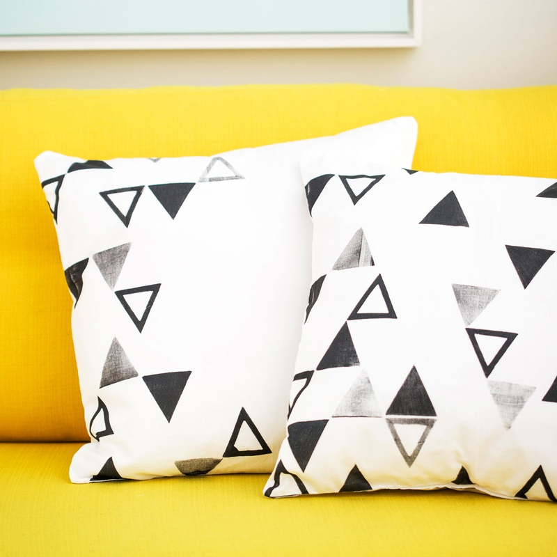 How to hand-stamp pillow covers