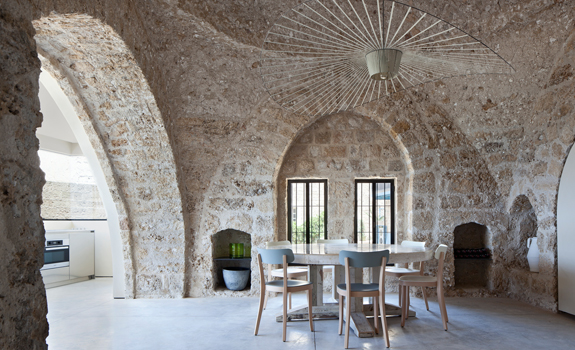 Dining room in a stone house