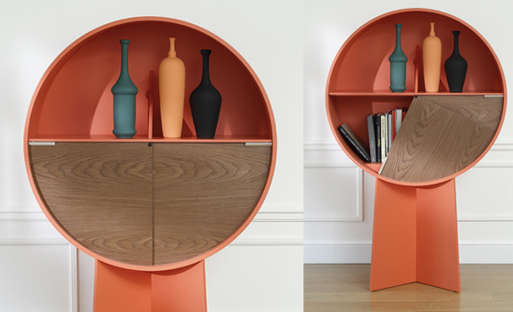 Luna minimalist cabinet in orange