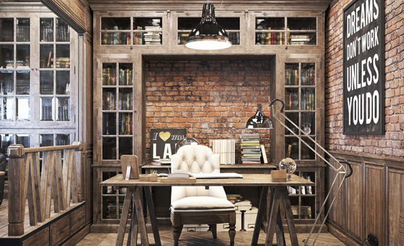 Vintage office design in private residence adorable home - Vintage looking home decor gallery ...