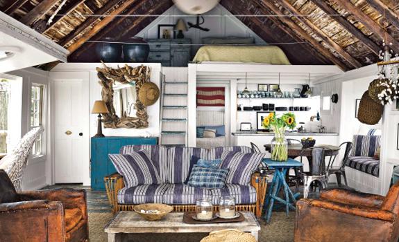 Cozy rustic beach shack interior
