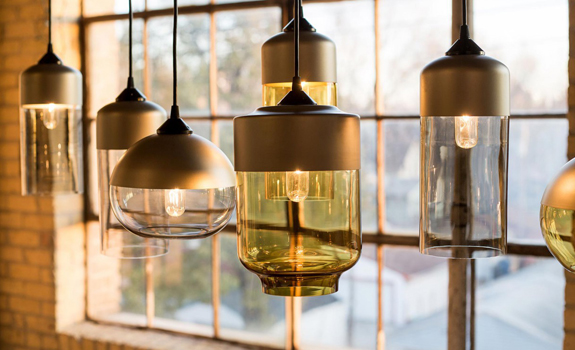 Parallel Series of Glass Pendant Lamps