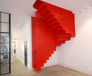 Red hot: suspended staircase design by Diapo