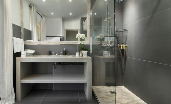 Contemporary grey bathroom design