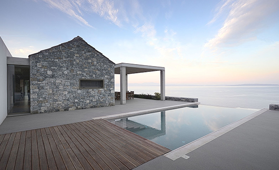 modern villa with pool in Greece