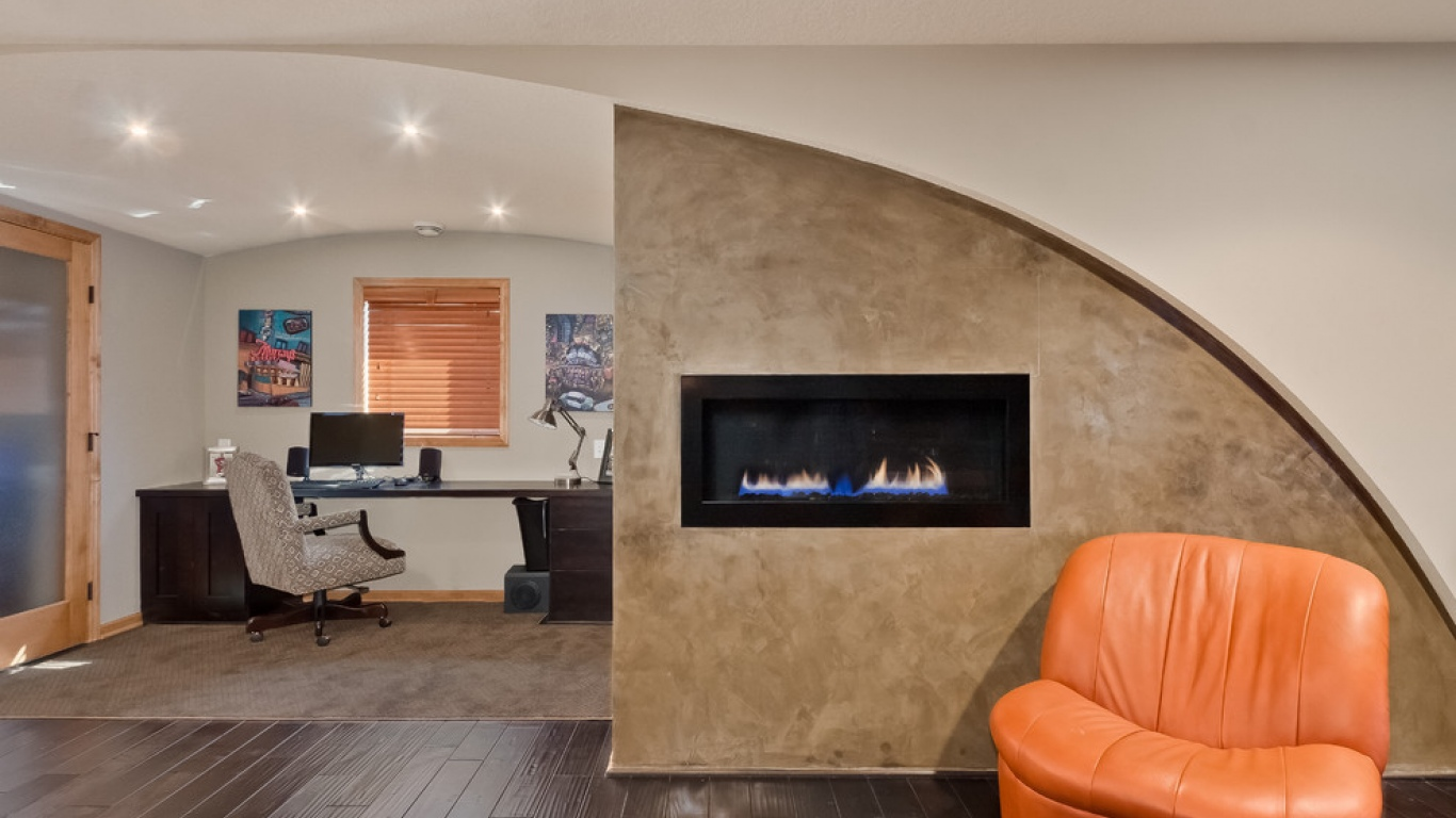 Concrete fireplace room divider