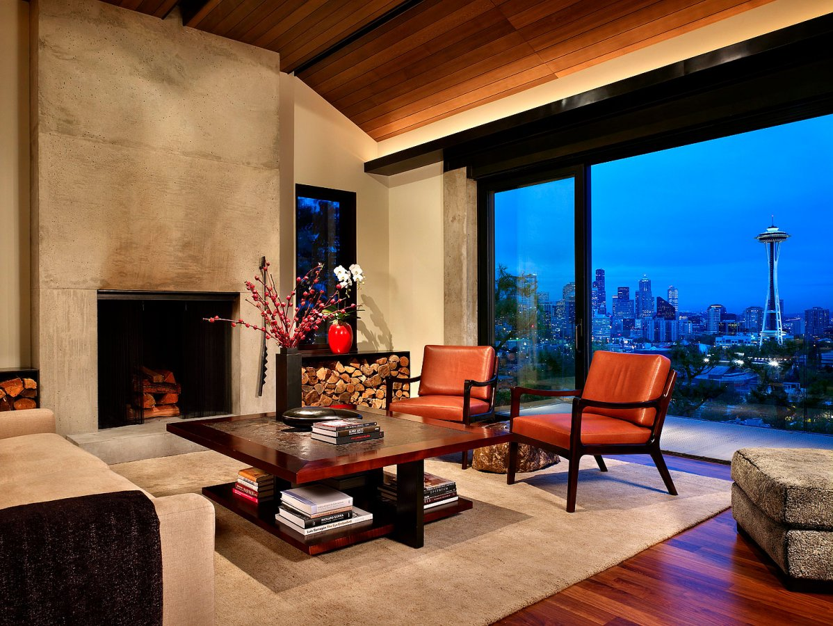 Beautiful living room with concrete fireplace