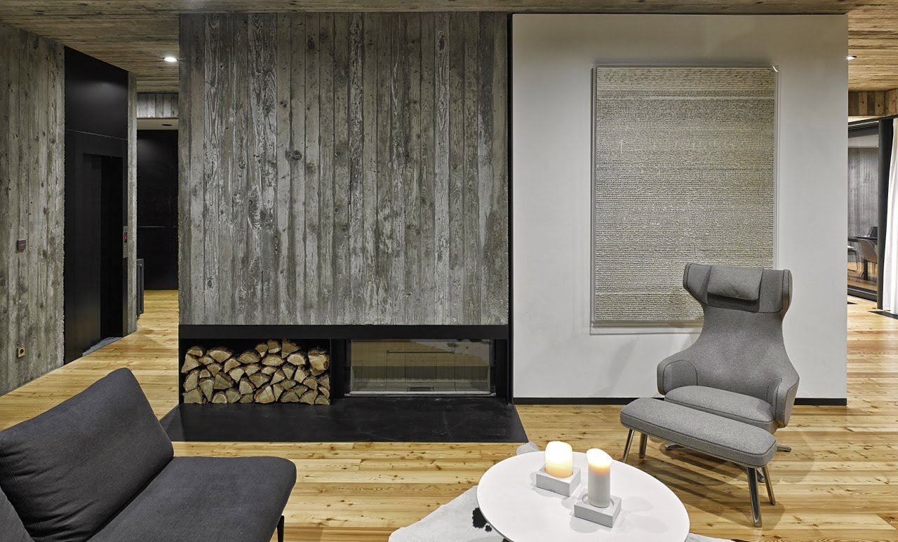 Concrete fireplace in a seaside house