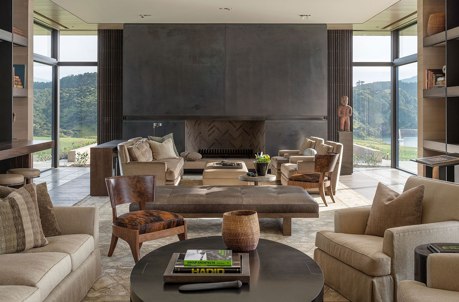 Large concrete fireplace in a living room