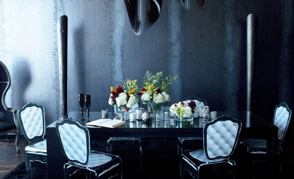 Luxury black dining room