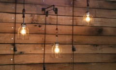 3 Pulley Mounted Industrial Wall Lights