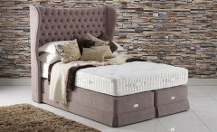 Modern bed with upholstered headboard