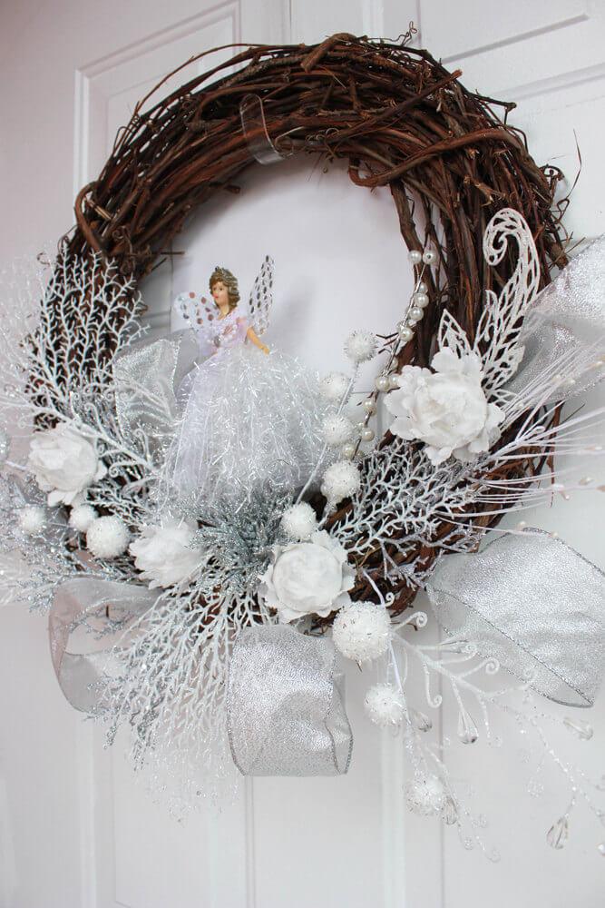 Christmas wreath with an angel
