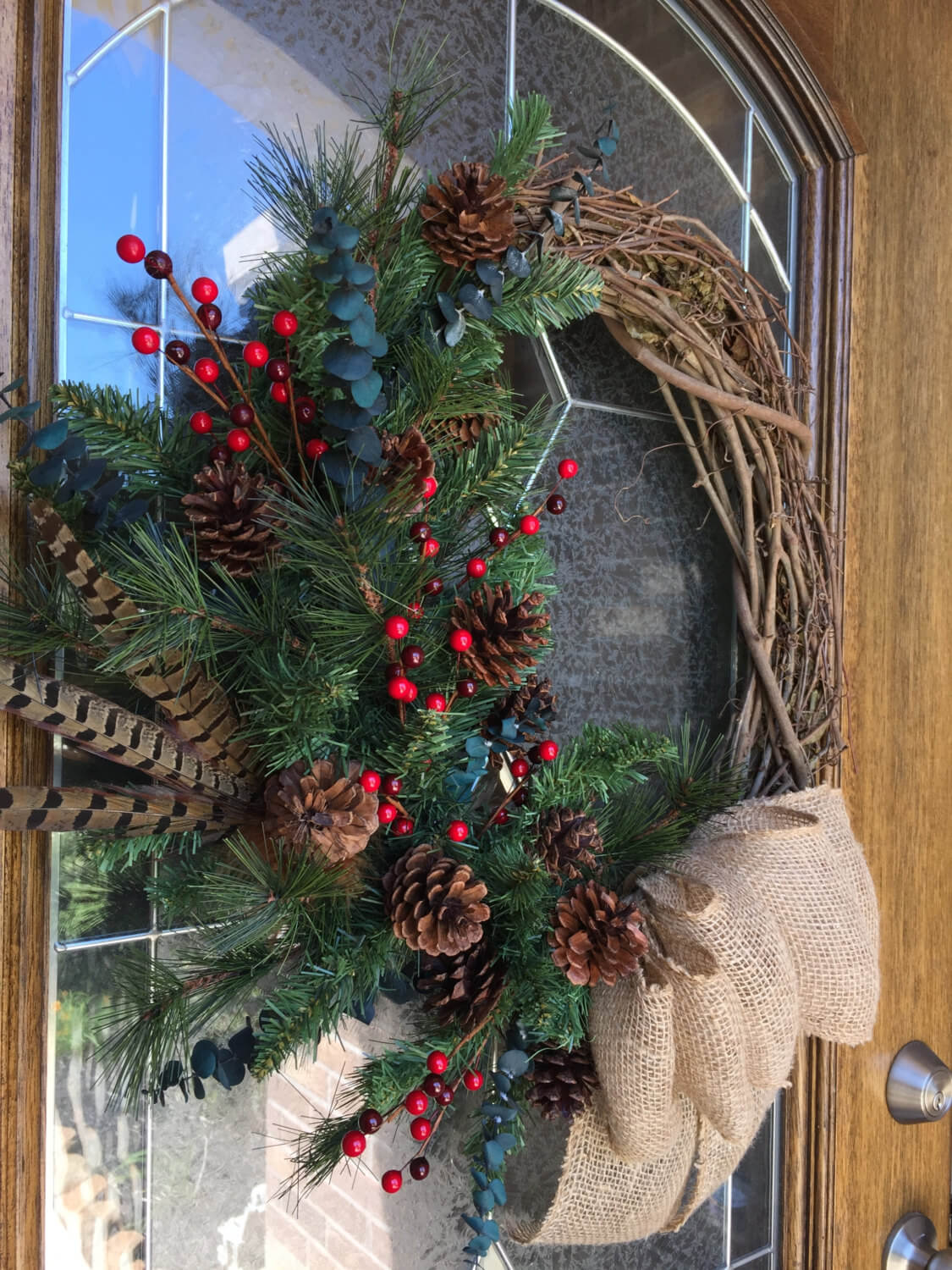 Christmas wreath in traditional colors
