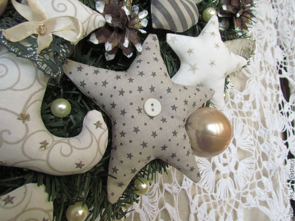 Christmas Wreath with textile stars
