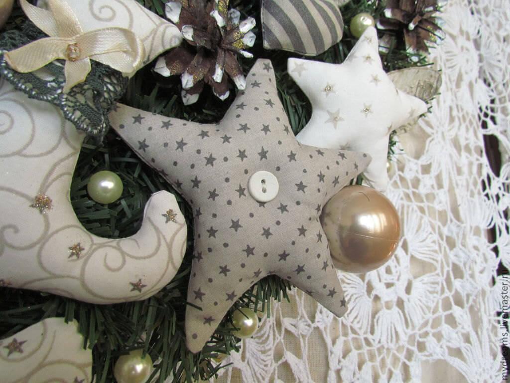 Christmas Wreath with textile stars
